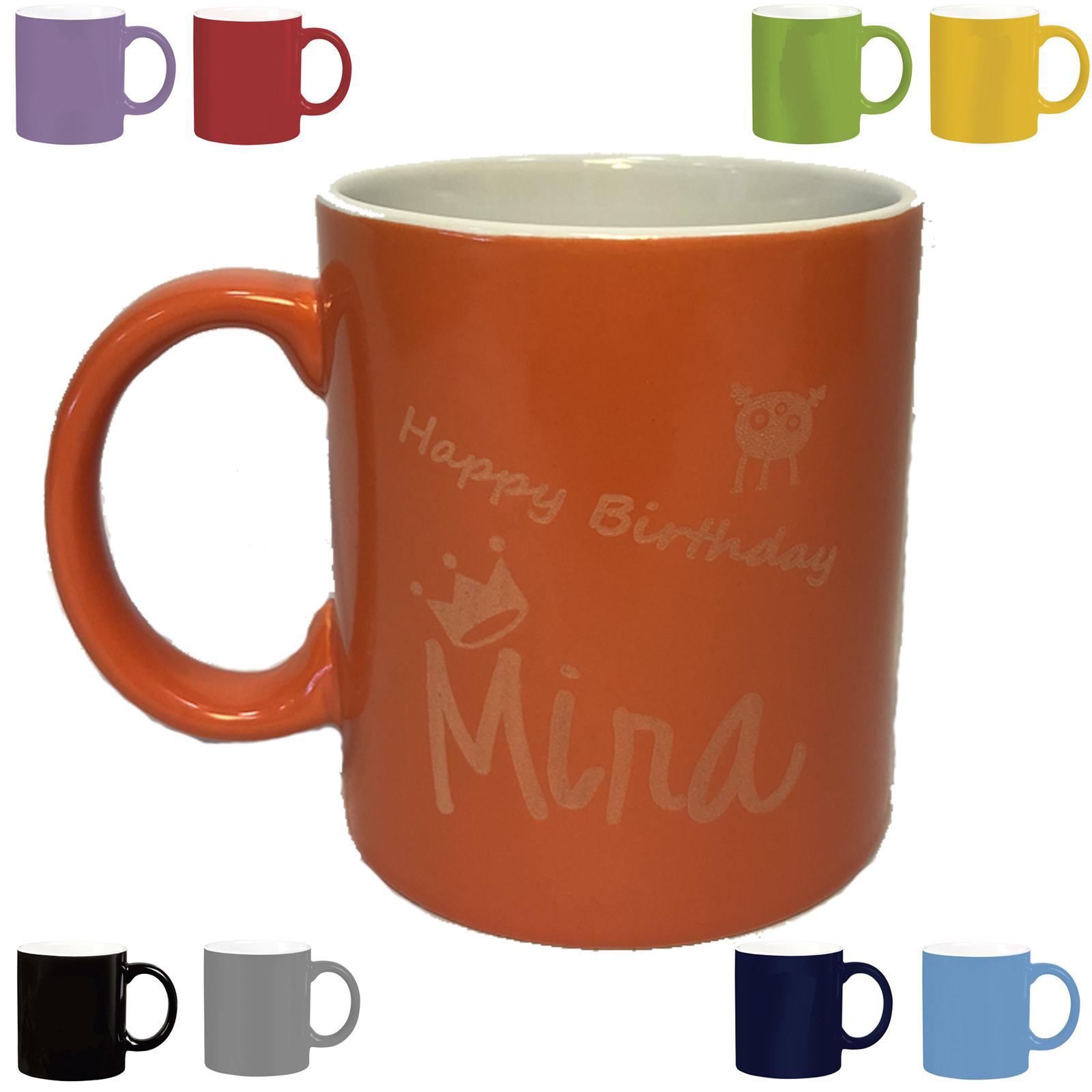 Keramikbecher Becher Kaffeebecher personalisiert mit Gravur Tasse